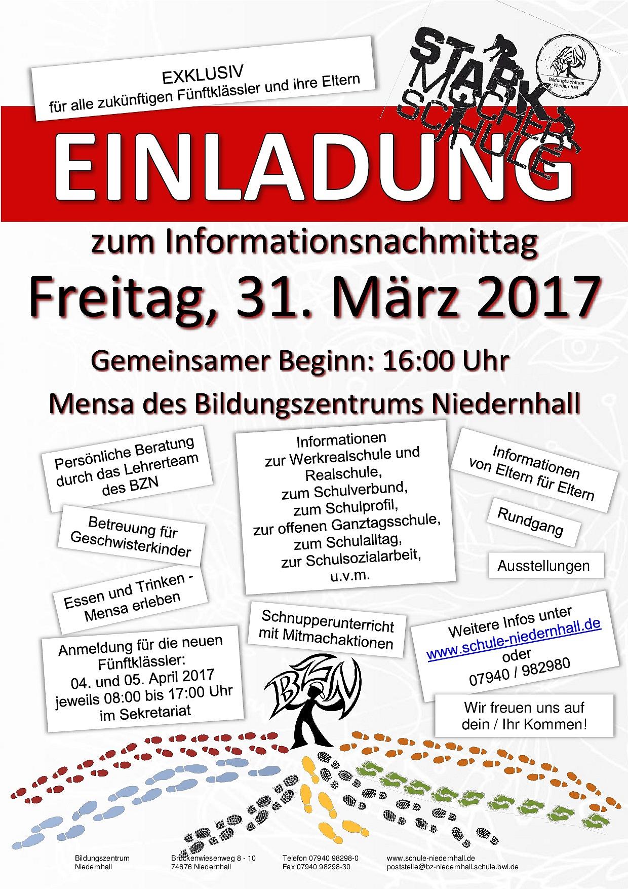 flyer tag der offenen tür bzn 2017 | schule niedernhall, Einladung